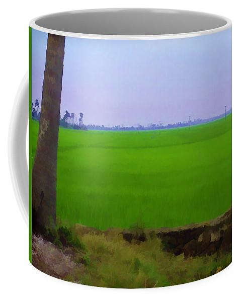 Blue Coffee Mug featuring the digital art Green Fields With Birds by Ashish Agarwal