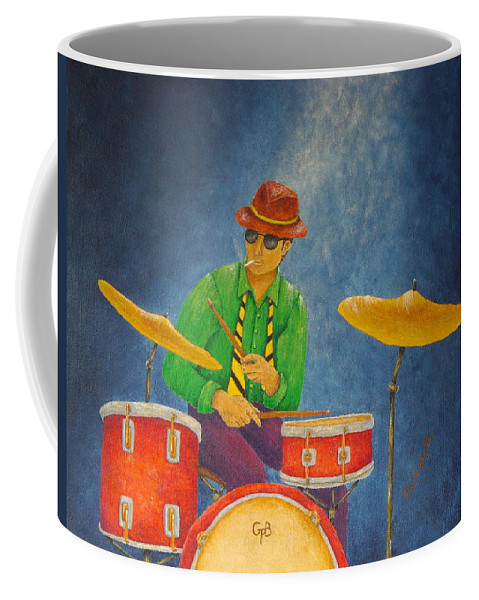 Pamela Allegretto-franz Coffee Mug featuring the painting Jazz Drummer by Pamela Allegretto