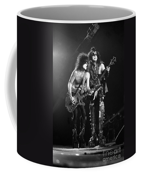 Gene Simmons Coffee Mug featuring the photograph Kiss - Paul Stanley And Gene Simmons by Concert Photos