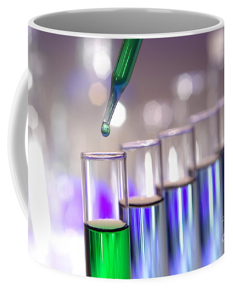 Blue Coffee Mug featuring the photograph Laboratory Test Tubes In Science Research Lab by Olivier Le Queinec