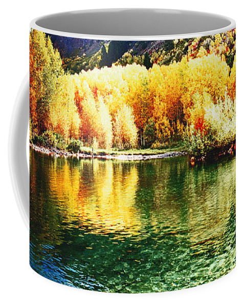 Mountain Coffee Mug featuring the photograph Lake Reflection In Fall by OLena Art Lena Owens