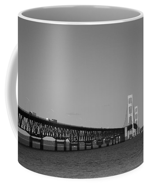 America Coffee Mug featuring the photograph Mackinac Bridge by Frank Romeo