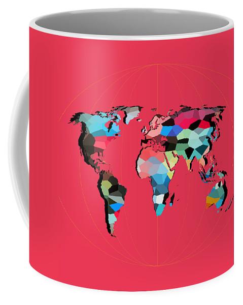 Landmark Coffee Mug featuring the digital art Map Of The World by Mark Ashkenazi