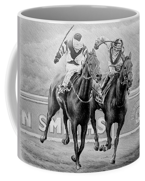 Horse Coffee Mug featuring the drawing Nearing The Finish by Andrew Read