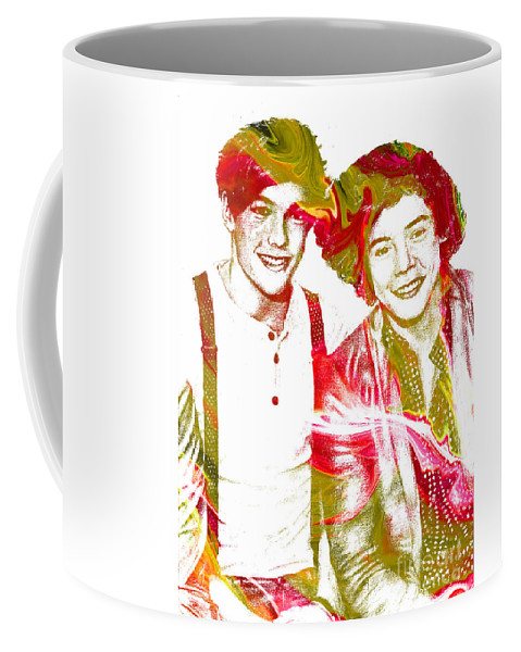 One Direction Coffee Mug featuring the painting One Direction by Doc Braham