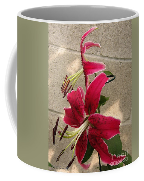 Orienpet Lily Coffee Mug featuring the painting Orienpet Lily Named Scarlet Delight by J McCombie