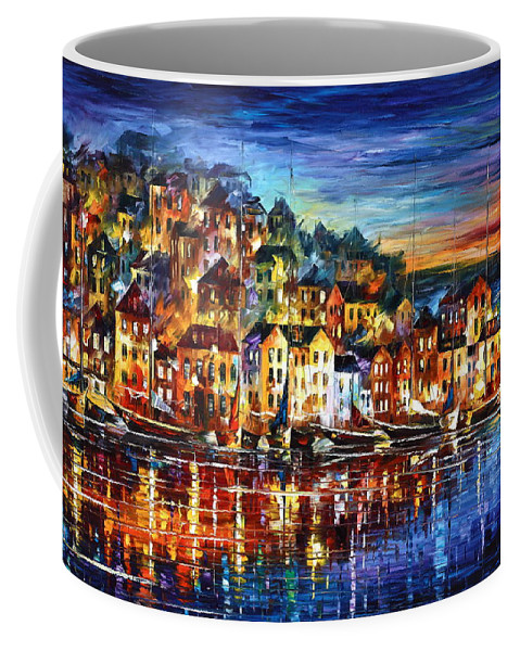 Harbor Coffee Mug featuring the painting Quiet Town by Leonid Afremov