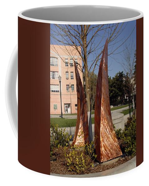 Copper Sculpture Coffee Mug featuring the sculpture Rustic Embrace by Peter Piatt