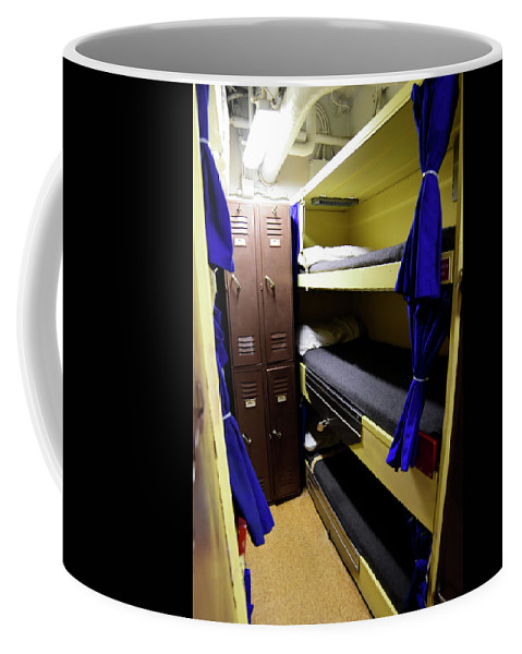 Vertical Coffee Mug featuring the photograph Seaman Lockers And Bunks Aboard Uss by Stocktrek Images