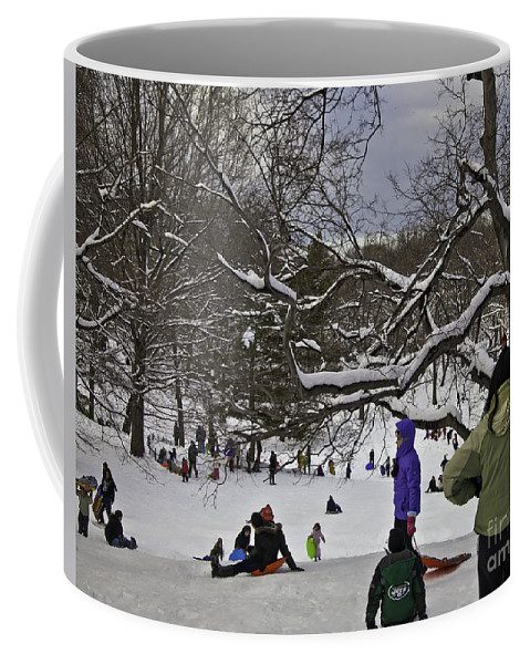 Snowboard Coffee Mug featuring the photograph Snowboarding In Central Park 2011 by Madeline Ellis
