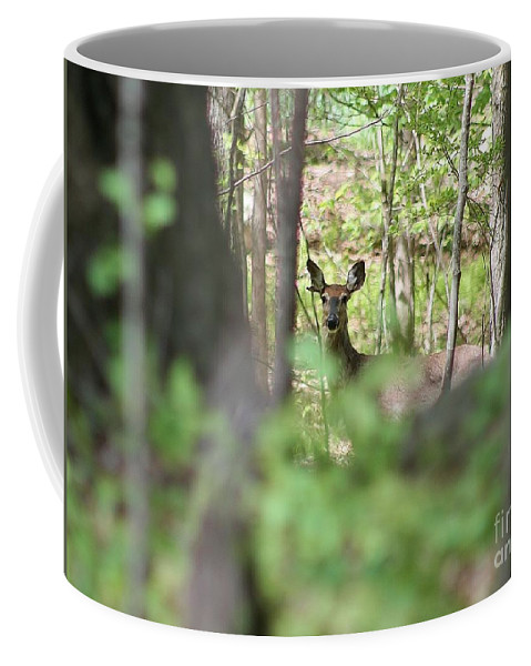 Deer Coffee Mug featuring the photograph Through The Trees by Neal Eslinger