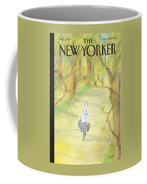 122749  (man Walking In The Woods.) Leisure Coffee Mug featuring the painting New Yorker August 21st, 2006 by Jean-Jacques Sempe