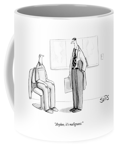 Doctor Coffee Mug featuring the drawing Anyhoo, It's Malignant by Julia Suits