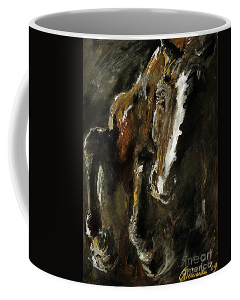 Horse Coffee Mug featuring the painting Wild Heart by Angel Ciesniarska