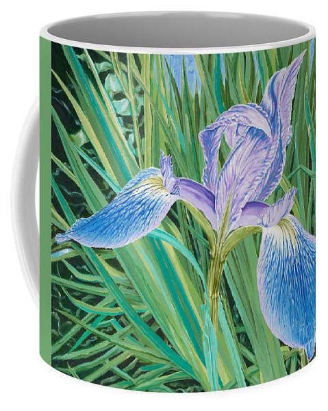 Purple Iris Coffee Mug featuring the painting Willa by John Wilson