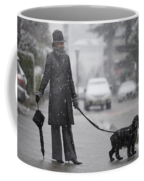 Street Coffee Mug featuring the photograph Woman With Her Dog by Mats Silvan
