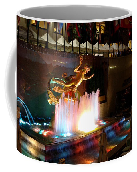 Fountain Coffee Mug featuring the photograph 30 Rock Fountain by Larry Jost