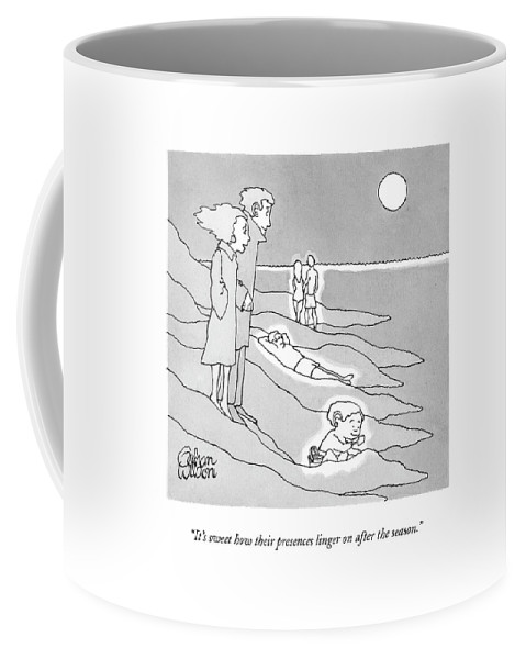 Beaches Coffee Mug featuring the drawing It's Sweet How Their Presences Linger by Gahan Wilson