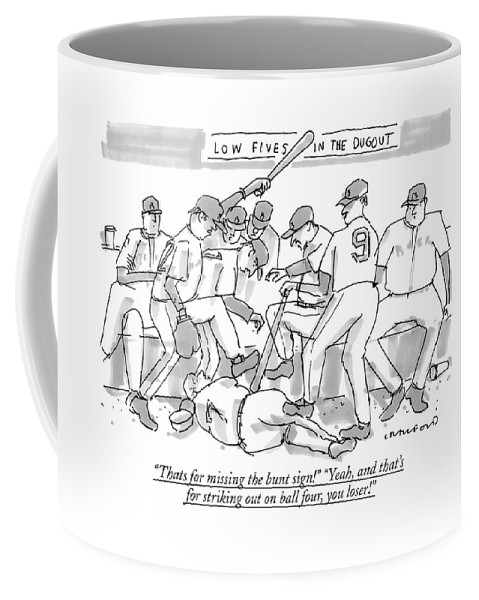 Baseball Coffee Mug featuring the drawing Thats For Missing The Bunt Sign! yeah by Michael Crawford