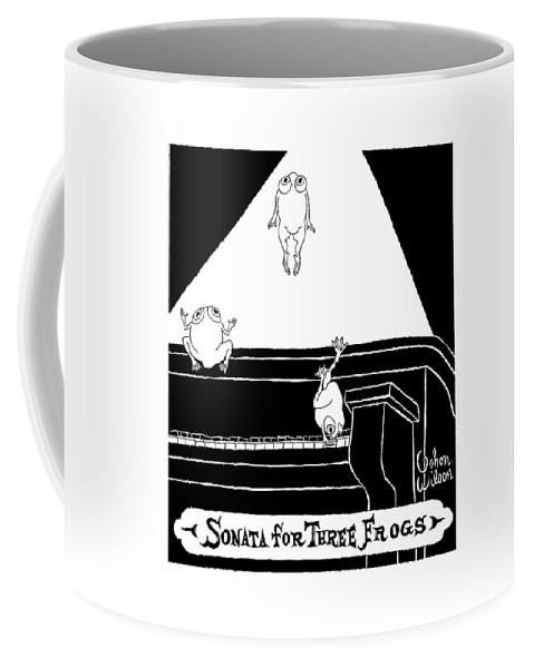Music  (frogs Jumpin' On Piano.) 122052 Gwi Gahan Wilson Coffee Mug featuring the drawing Sonata For Three Frogs by Gahan Wilson