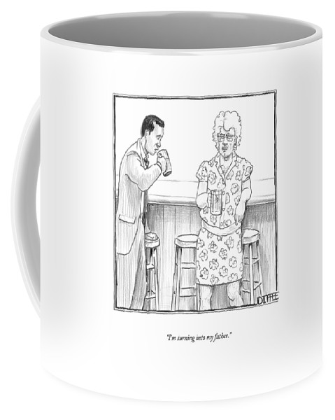 Bars Coffee Mug featuring the drawing I'm Turning Into My Father by Matthew Diffee