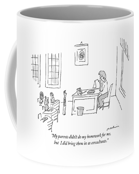 Children Coffee Mug featuring the drawing My Parents Didn't Do My Homework by Michael Maslin