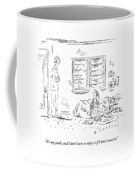Depression Coffee Mug featuring the drawing It's My Youth by Barbara Smaller