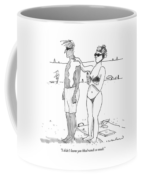 Seashore Food Low Cuisine  (woman Applying Salad Dressing On Her Husband's Back Instead Of Sunscreen.) 122570 Mcr Michael Crawford Coffee Mug featuring the drawing I Didn't Know You Liked Ranch So Much by Michael Crawford