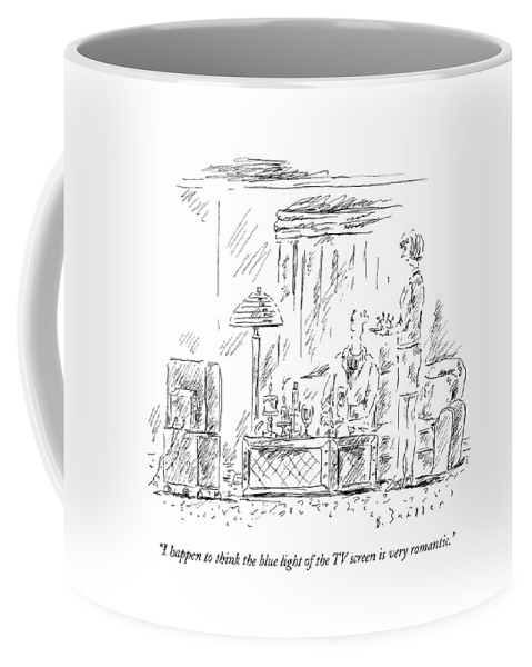 Couple Coffee Mug featuring the drawing I Happen To Think The Blue Light Of The Tv Screen by Barbara Smaller