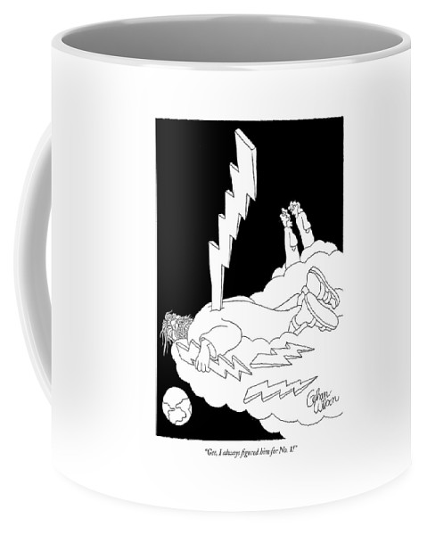 God Heaven Problems  (angels Talking About Their God Being Struck In The Back By A Lightning Bolt.) 120819 Gwi Gahan Wilson Coffee Mug featuring the drawing Gee, I Always Figured Him For No. 1! by Gahan Wilson