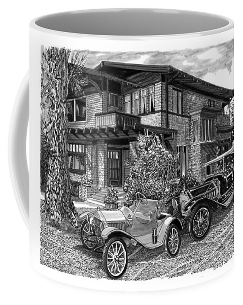1913 Metz Runabout In Front Of 100 Year Old House At 355 Junipero Street Coffee Mug featuring the drawing Mertz Runabout by Jack Pumphrey
