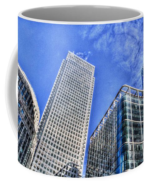 Taxi Taxis Coffee Mug featuring the photograph Canary Wharf London by David Pyatt