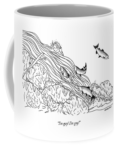 Salmon Talking Sex  (smiling Salmon Swimming Downstream.) 120806 Age Alex Gregory Bravery River Stream Gay Homosexual Fish Salmon Different Swimming Upstream Nature Animal Coffee Mug featuring the drawing I'm Gay! I'm Gay! by Alex Gregory