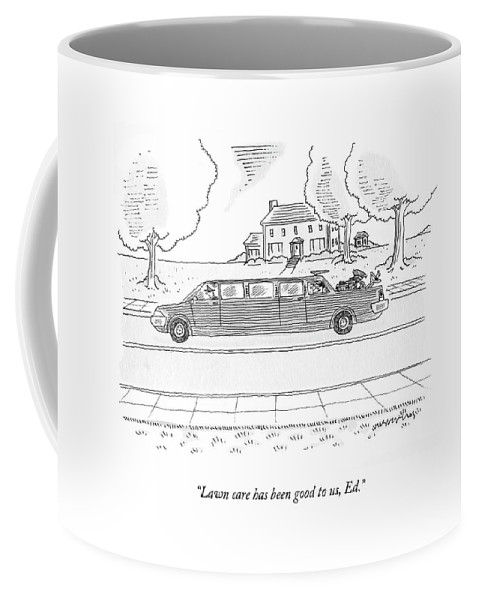 Limousine Coffee Mug featuring the drawing Lawn Care Has Been Good by Mick Stevens