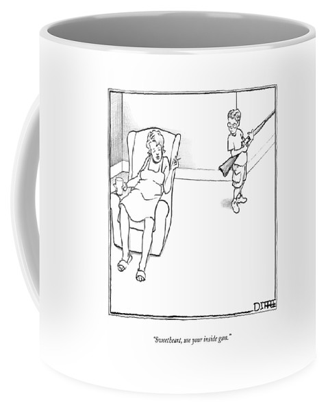 Guns Coffee Mug featuring the drawing Sweetheart, Use Your Inside Gun by Matthew Diffee