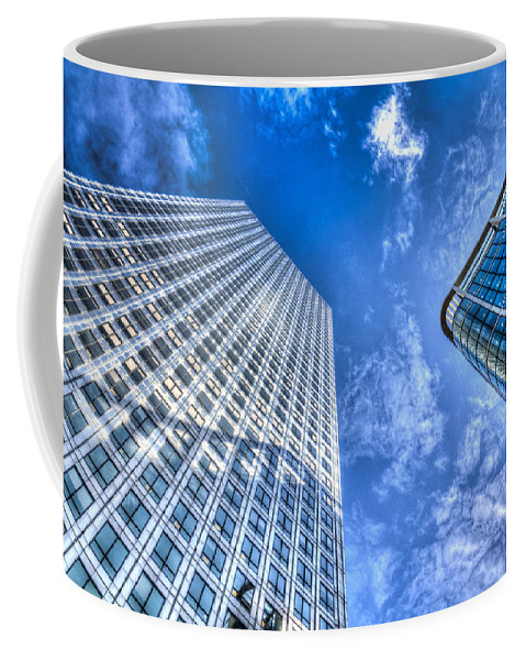 Taxi Taxis Coffee Mug featuring the photograph Canary Wharf London by David Pyatt