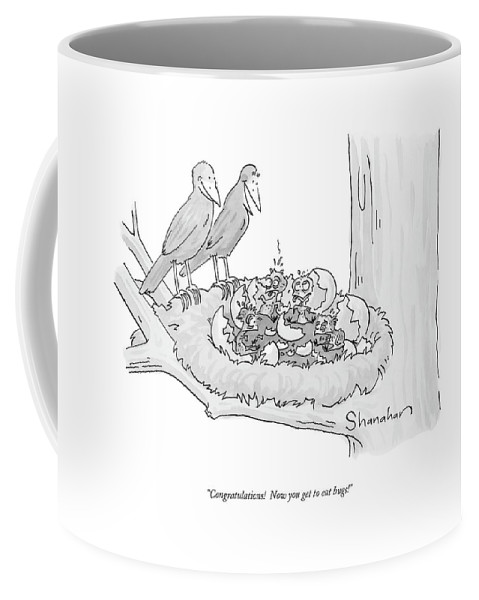 Word Play Coffee Mug featuring the drawing Congratulations! Now You Get To Eat Bugs! by Danny Shanahan
