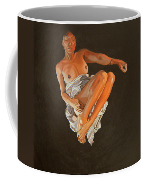Semi-nude Coffee Mug featuring the painting 4 30 Am by Thu Nguyen