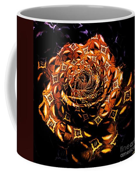 Fractal Art Coffee Mug featuring the digital art 4 4 Echo Rose by Elizabeth McTaggart