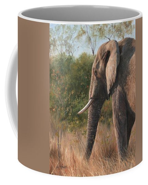African Elephant Coffee Mug featuring the painting African Elephant by David Stribbling