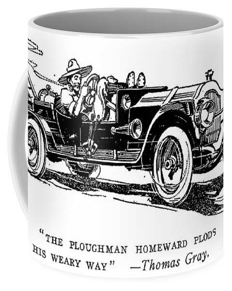 1914 Coffee Mug featuring the painting Automobile Cartoon, 1914 by Granger