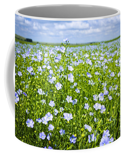 Flax Coffee Mug featuring the photograph Blooming Flax Field by Elena Elisseeva