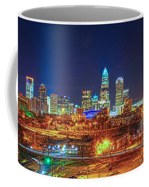 2012 Coffee Mug featuring the photograph Charlotte City Skyline Night Scene by Alex Grichenko