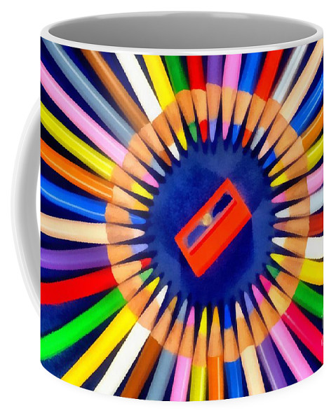 Pencil Coffee Mug featuring the painting Colorful Pencils by George Atsametakis