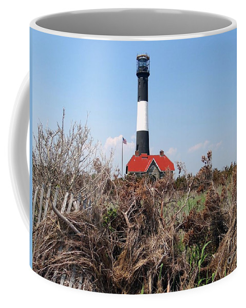 Lighthouse Coffee Mug featuring the photograph Fire Island Lighthouse by Ed Weidman