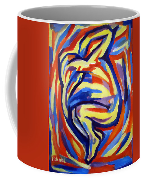 Abstract Figures Coffee Mug featuring the painting Here by Helena Wierzbicki