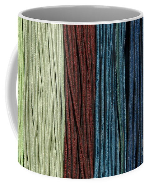Multi-colored Coffee Mug featuring the photograph Multi-colored Striped Fabrics by Mats Silvan
