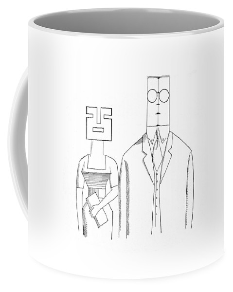 Saul Steinberg 115910 Steinbergattny   (couples And Individuals With Unusually Shaped Faces.) 2-page Appearances Appears Business Character Class Clothes Clothing Coat Couples Depicts Example Face Faces Fur Furs Geometry High Humanity Individuals Low Man Mind Occupation People Personality Profession Professional Psychological Psychology Rock Shape Shaped Shapes Similar Slab Social Society Spread Their Tycoon Type Types Unusually Coffee Mug featuring the drawing New Yorker May 5th, 1962 by Saul Steinberg