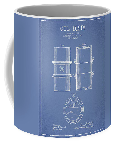 Oil Coffee Mug featuring the digital art Oil Drum Patent Drawing From 1905 by Aged Pixel