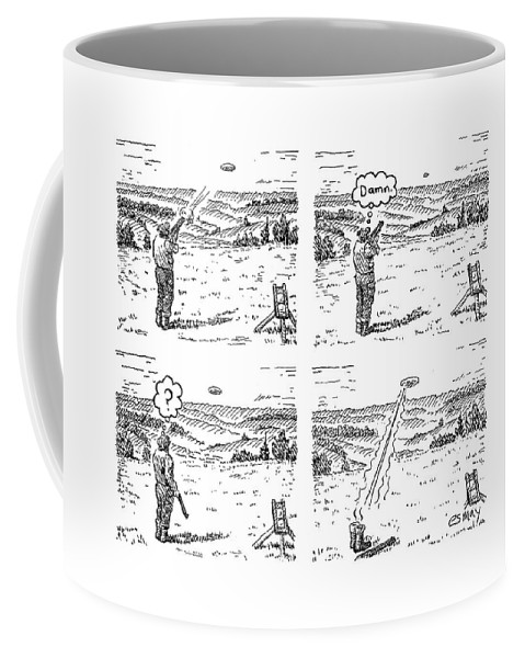 4 Panels. Man Shoots At A Grout Which Then Turns Out To Be An Alien Spacecraft That Shoots Him.  Media Id 133711 Coffee Mug featuring the drawing 4 Panels. Man Shoots At A Grout Which Then Turns by Rob Esmay